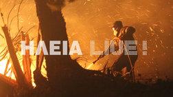 Oλονύκτια μάχη με τις φλόγες στις χαράδρες της Ηλείας