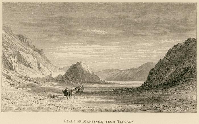 Η πεδιάδα της Μαντίνειας από τα Τσιπιανά. Farrer, Richard Ridley, A Tour in Greece 1880, Εδιμβούργο, William Blackwood, 1882