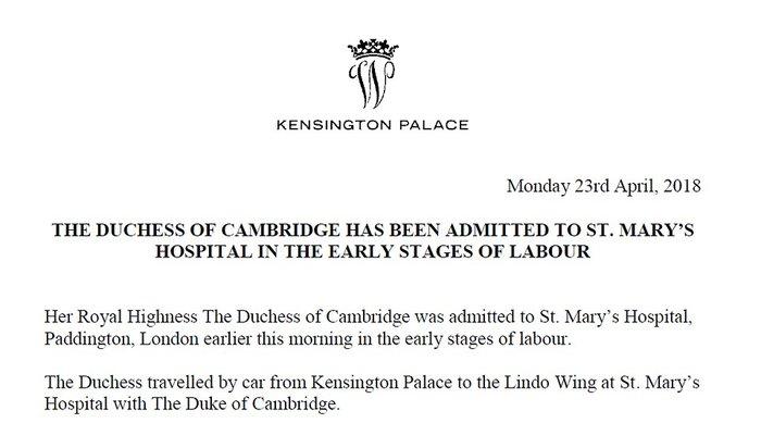 It's a... Γέννησε η Κέιτ - αυτό είναι το φύλο του νέου βασιλικού μωρού - εικόνα 2