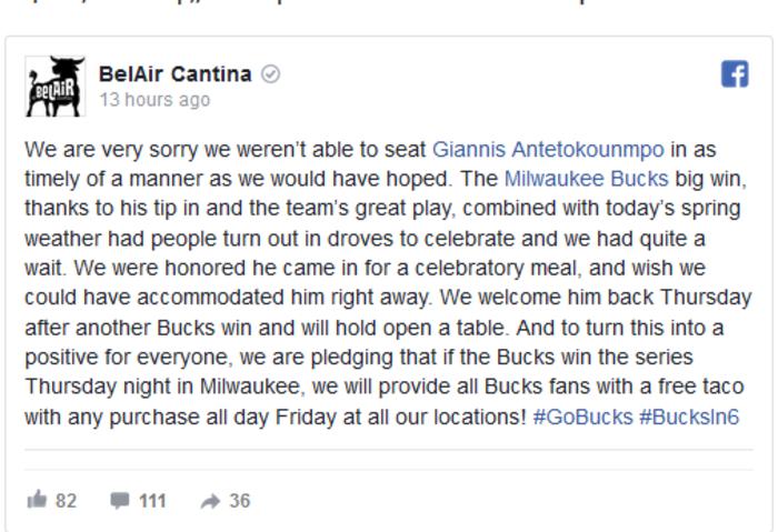 Εστιατόριο ζήτησε συγγνώμη από τον Αντετοκούνμπο-Δείτε γιατί