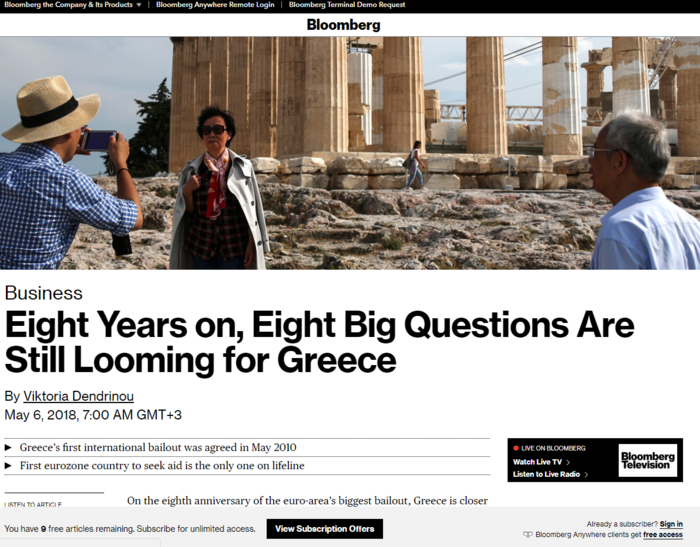 Bloomberg: Κίνδυνος δαπανηρών πολιτικών υποσχέσεων στην Ελλάδα