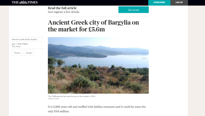 Times: Προς πώληση η αρχαία ελληνική πόλη Βαργυλία στα τουρκικά παράλια