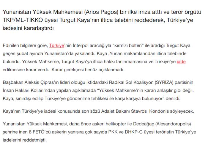 """""""Ελληνικό δικαστήριο εκδίδει τον τρομοκράτη Τουργκούτ Καγιά στην Τουρκία"""""""