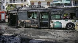 Στις φλόγες τυλίχθηκε αστικό λεωφορείο στα Κάτω Πατήσια -φωτό