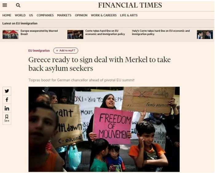 FT: Ο Τσίπρας έτοιμος για συμφωνία με την Μέρκελ στο μεταναστευτικό