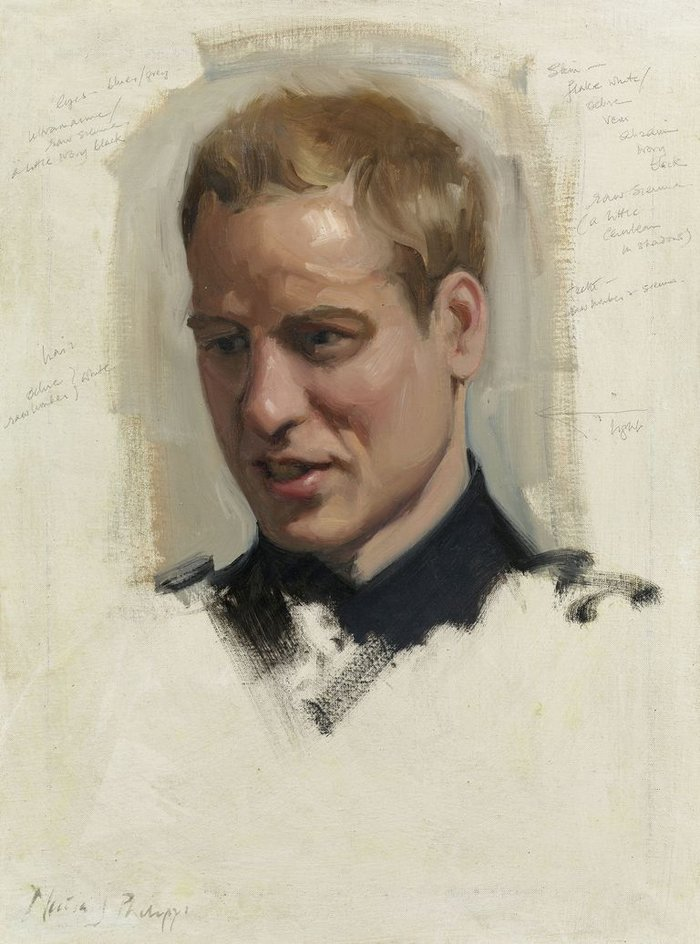 Nicky Philipps, Preparatory sketch of Prince William, 2009Royal Collection Trust