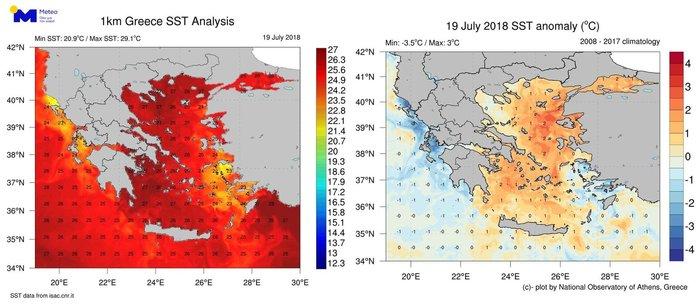 Θερμά τα νερά του Αιγαίου, ψυχρά για την εποχή στο Ιόνιο