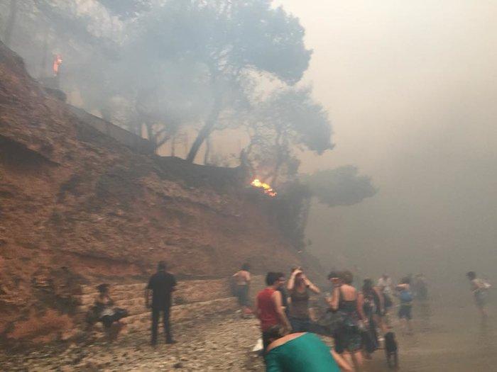Σκηνές αποκάλυψης στις παραλίες της Ραφήνας με τη φωτιά - εικόνα 4