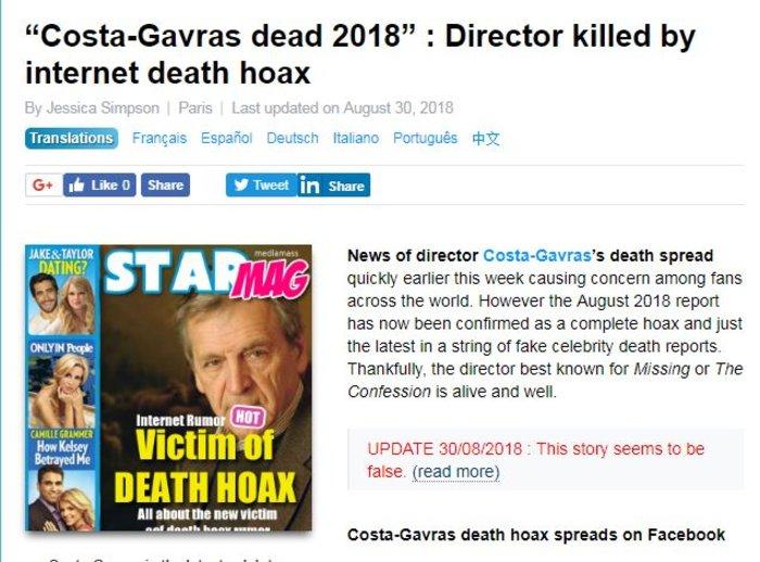 Ο υποτιθέμενος «θάνατος» του Κώστα Γαβρά