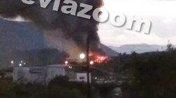 Μεγάλη φωτιά σε αποθήκη στη Χαλκίδα