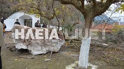 Βράχος αποκολλήθηκε στην Πλατιάνα και έπεσε σε εκκλησία του χωριού