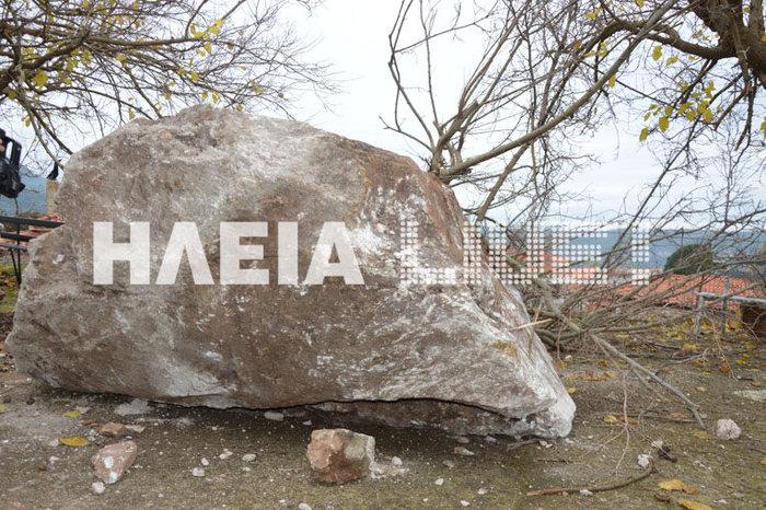 Βράχος αποκολλήθηκε στην Πλατιάνα και έπεσε σε εκκλησία του χωριού - εικόνα 2