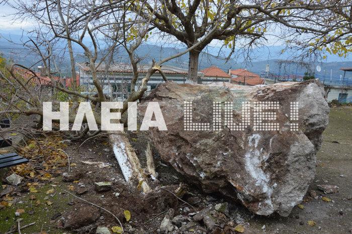 Βράχος αποκολλήθηκε στην Πλατιάνα και έπεσε σε εκκλησία του χωριού - εικόνα 3