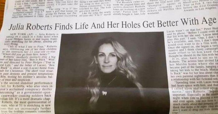 Το λάθος εφημερίδας που έκανε viral τη Τζούλια Ρόμπερτς