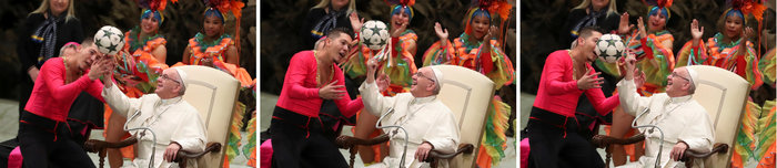 O Πάπας Φραγκίσκος με την μπάλα στο Βατικανό