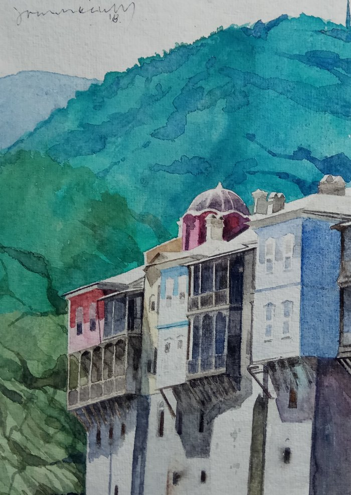 Αγιον ΄Ορος: Εργα φύσης κι ανθρώπου μέσα από το χρωστήρα του Γ. Παπασάικα