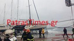 Φωτιά σε δύο ιστιοφόρα μέσα στο παλιό λιμάνι της Πάτρας