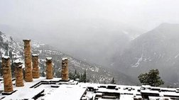 Η απερίγραπτη μαγεία του χιονισμένου Δελφικού τοπίου