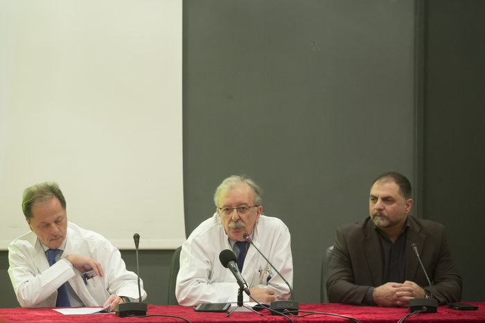 Δημ. Σιώνης (Διευθυντής Αιμοδυναμικού Τμήματος), Π. Αντωνόπουλος (Πρόεδρος Επιστημονικού Συμβουλίου), Εμμ. Κουταλάς (Διοικητής Σισμανογλείου)