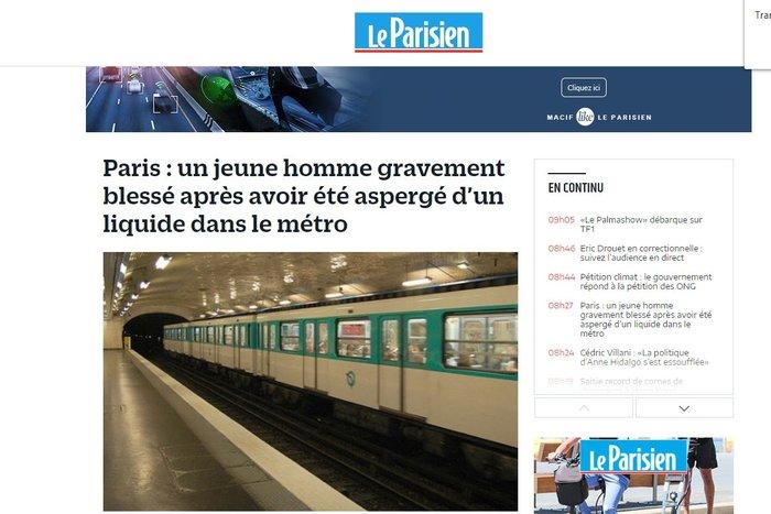 Επίθεση με οξύ σε άνδρα στο μετρό στο Παρίσι