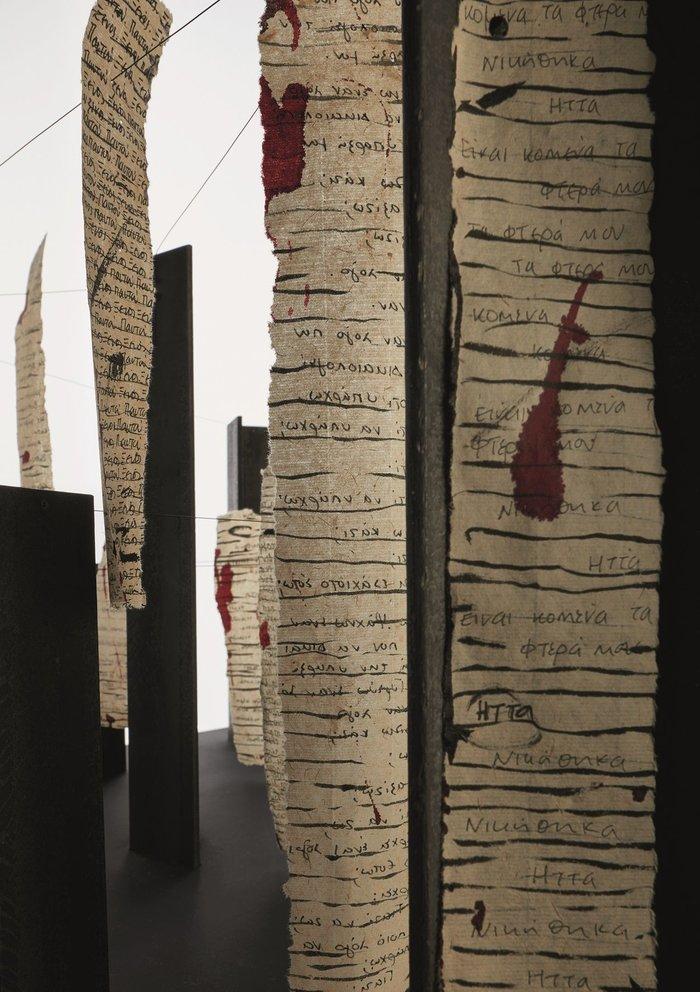 «Διάλογοι», εγκατάσταση,χάλυβας, και σινική μελάνη σε χαρτί, μεταβλητές διαστάσεις, 2019
