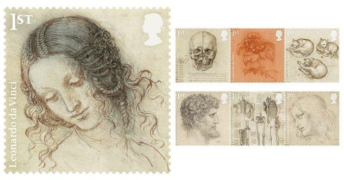 Ο Ντα Βίντσι σε δώδεκα γραμματόσημα με διάσημα έργα του
