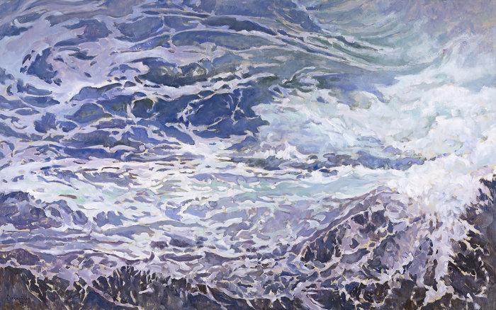 Β. Θεοχαράκης, Μέσα στην αντάρα της θάλασσας, λάδι σε μουσαμά
