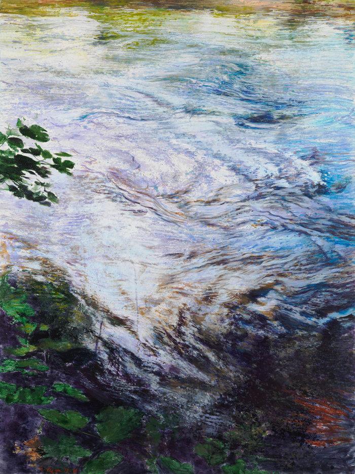 Ζωγραφική που ακολουθεί την ορμητική πορεία του νερού από τη Χρύσα Βέργη