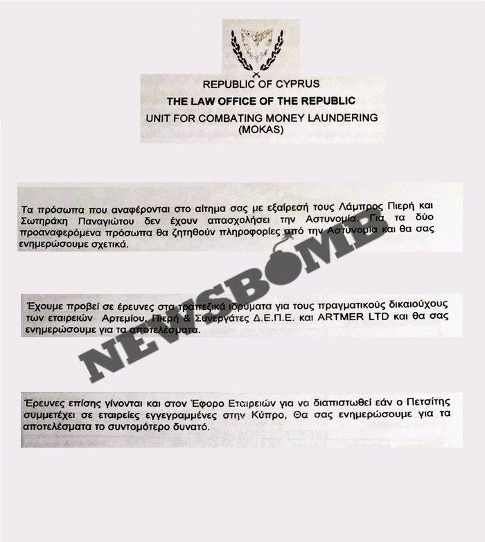 Νέες πληροφορίες για άνοιγμα λογαριασμών Πετσίτη στην Κύπρο