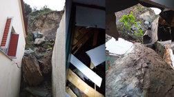 Προβλήματα & ζημιές από την κακοκαιρία: Βράχοι σε σπίτια στο Πλωμάρι