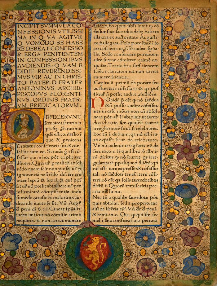 Antoninus Florentinus, Confessionale: Defecerunt scrutantes scrutinio. Βενετία: Bartholomaeus Cremonensis, 1473