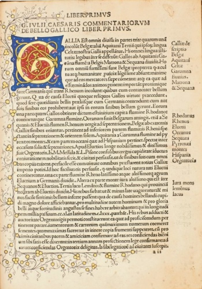 Gaius Julius Caesar: Commentarii. Βενετία: Octavianus Scotus, 1482