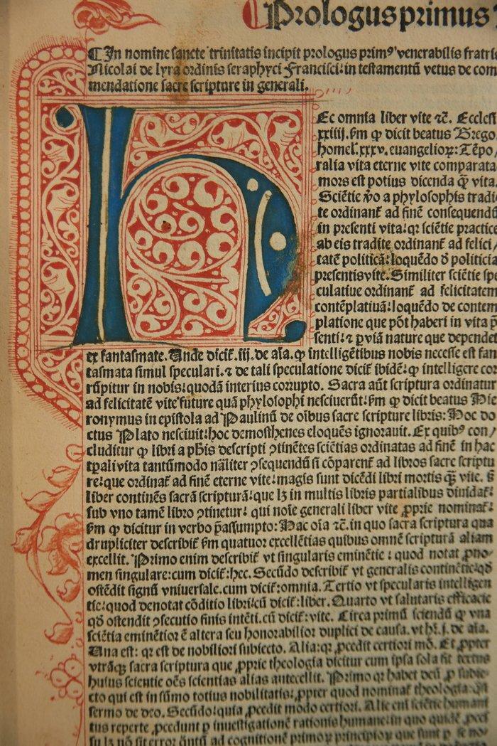 Λεπτομέρεια με χειρόγραφη διακόσμηση από έκδοση Λατινικής Βίβλου, που τυπώθηκε στη Βενετία το 1495 από τον Paganinus de Paganinis.[Biblia Latina, Βενετία: Paganinus de Paganinis, 1495]