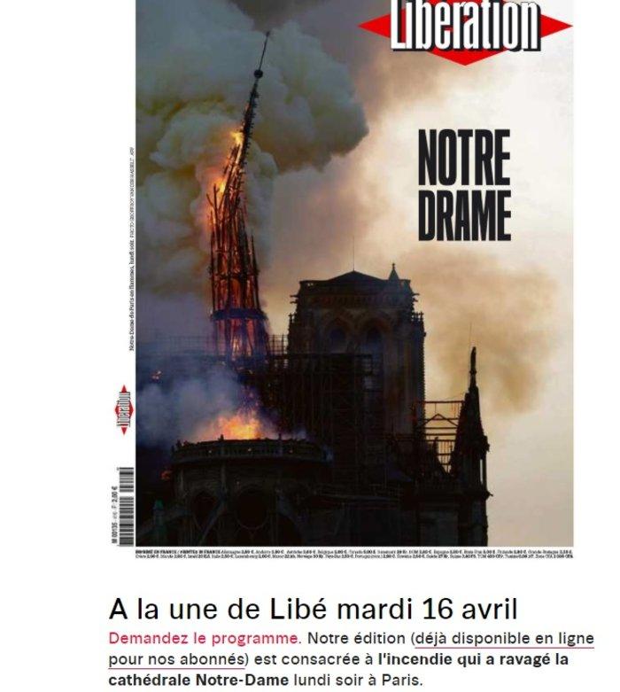 Το συγκλονιστικό πρωτοσέλιδο της Liberation: «Νotre Drame»