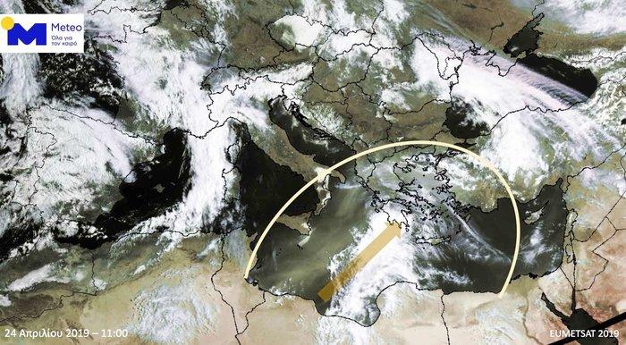 Δορυφορική εικόνα το πρωί της Μ. Τετάρτης και ώρα 11:00