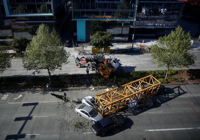 Kατέρρευσε γερανός σε υπό κατασκευή γραφεία της Google - 4 νεκροί
