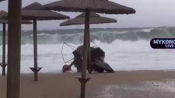 Καταστροφές σε καλλιέργειες και επιχειρήσεις σε Κρήτη & Μύκονο (βίντεο)