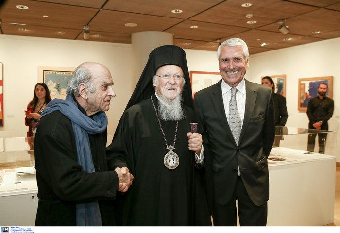 Από την επίσκεψη του Οικουμενικού Πατριάρχη, κ.κ. Βαρθολομαίου στην έκθεση: Α. Φασιανός, Οικουμενικός Πατριάρχης, κ.κ. Βαρθολομαίος, Βαγγέλης Χρόνης