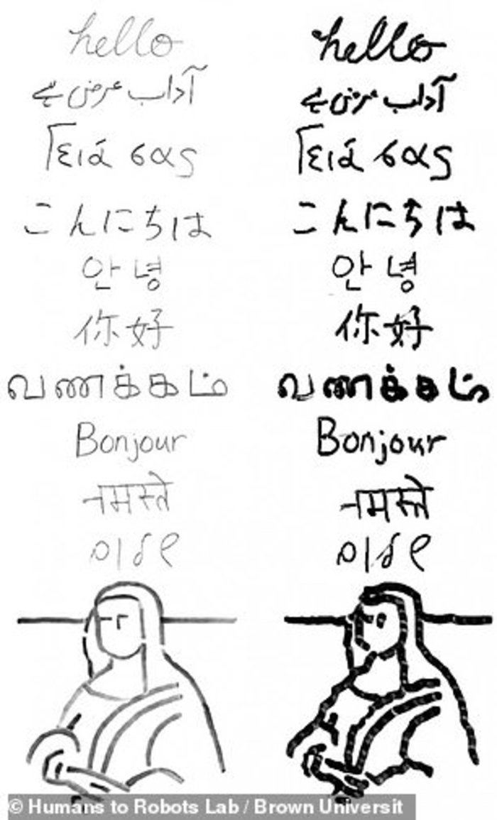 Ρομπότ γράφει «γεια σας» στα ελληνικά και σε άλλες γλώσσες