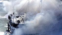 Βυθίστηκε πλοίο στο οποίο νωρίτερα ξέσπασε πυρκαγιά