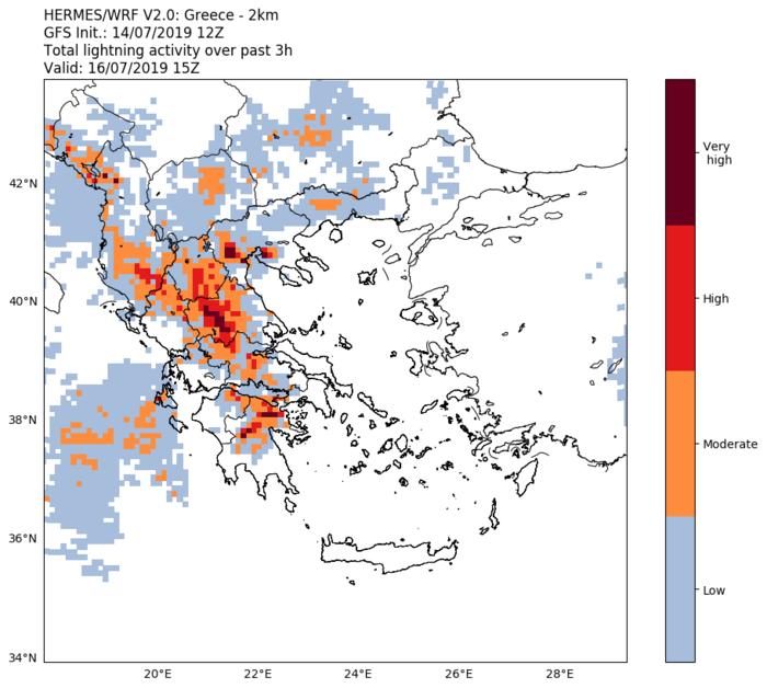 Χάρτης 1. Αναμενόμενη κεραυνική δραστηριότητα το απόγευμα της Τρίτης 16/07. Με κόκκινο σημειώνονται οι περιοχές με την ισχυρότερη κεραυνική δραστηριότητα.