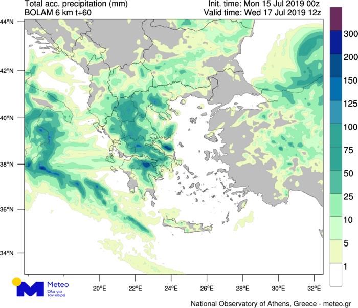 Χάρτης 2. Πρόγνωση ολικού υετού (βροχή/χαλάζι) έως το μεσημέρι της Τετάρτης 17/07. Με σκούρο πράσινο και μπλε σημειώνονται οι περιοχές με τα μεγαλύτερα αναμενόμενα ύψη ολικού υετού.