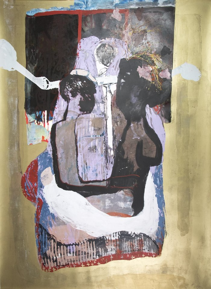 Virginia Chihota, Bhai bhai dhirezi handikanganwe – Bye bye dress I cannot forget, 2018, Screenprint on paper 190 x 168 cm, Courtesy Tiwani Contemporary