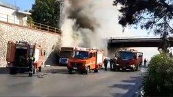 Φωτιά σε λεωφορείο του ΟΑΣΑ στην Αθηνών - Λαμίας - Σοβαρές ζημιές