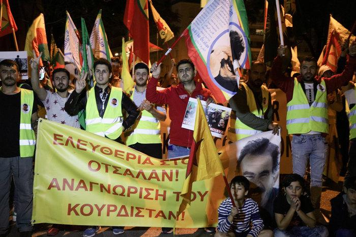 Συγκέντρωση και πορεία Κούρδων στην τουρκική πρεσβεία στην Αθήνα