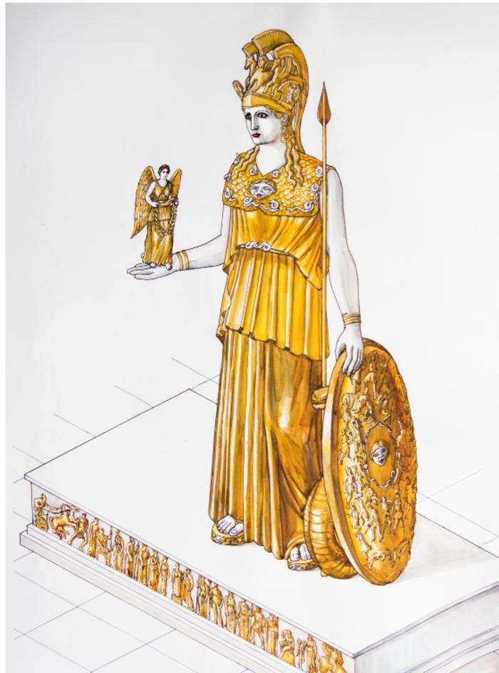Το χρυσελεφάντινο άγαλμα της Αθηνάς (Φωτογραφία: Μουσείο Ακρόπολης)
