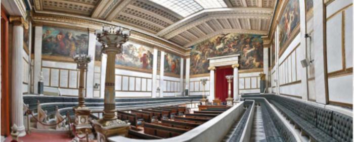 Η επιβλητική ανατολική αίθουσα της Ακαδημίας Αθηνών που φιλοξένησε το συνέδριο με ΄Ελληνες και διεθνείς ομιλητές.