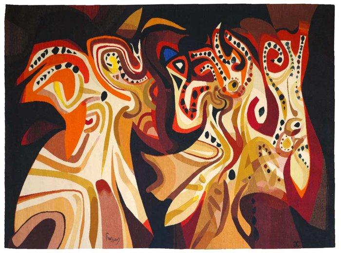 ΜΑΡΙΟΣ ΠΡΑΣΙΝΟΣLes fiancés turcs, 1970Ταπισερί 183 x 248 εκ.© Succession Mario Prassinos, ADAGP 2019Συλλογή Μουσείου Dom Robert και της ταπισερί του 20ου αιώνα, Sorèze, Γαλλία