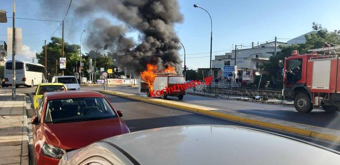 Φωτιά σε φορτηγό εν κινήσει στο Κιάτο (φωτό) - εικόνα 3