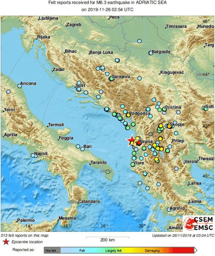 Δέκα νεκροί και εκατοντάδες τραυματίες από τα 6,4 Ρίχτερ στην Αλβανία